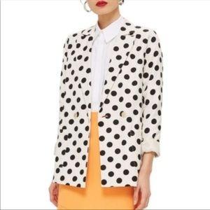 Topshop Linen Polka Dot Blazer